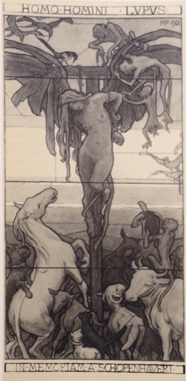 """M. Pirner, """"Homo homini lupus - In memoriam A. Schopenhauer"""", 1901, Galerie nationale de Prague"""